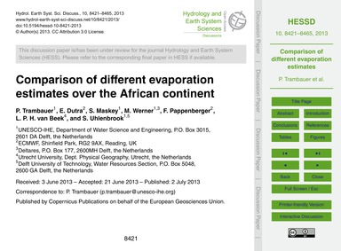 Comparison of Different Evaporation Esti... by Trambauer, P.