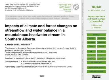 Impacts of Climate and Forest Changes on... by Mahat, V.