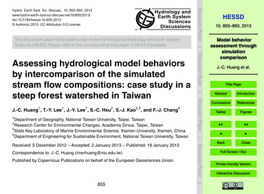 Assessing Hydrological Model Behaviors b... by Huang, J.-c.