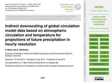 Indirect Downscaling of Global Circulati... by Beck, F.