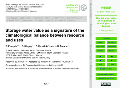 Storage Water Value as a Signature of th... by François, B.