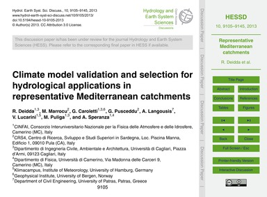 Climate Model Validation and Selection f... by Deidda, R.