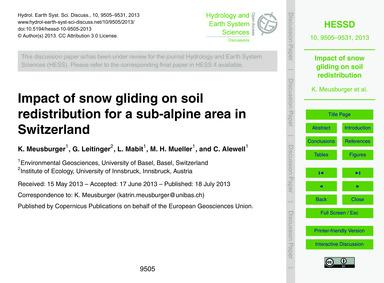 Impact of Snow Gliding on Soil Redistrib... by Meusburger, K.