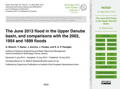 The June 2013 Flood in the Upper Danube ... by Blöschl, G.