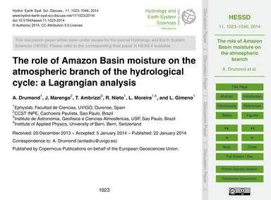 The Role of Amazon Basin Moisture on the... by Drumond, A.