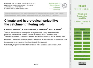 Climate and Hydrological Variability: th... by Andrés-doménech, I.
