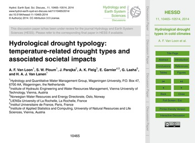 Hydrological Drought Typology: Temperatu... by Van Loon, A. F.