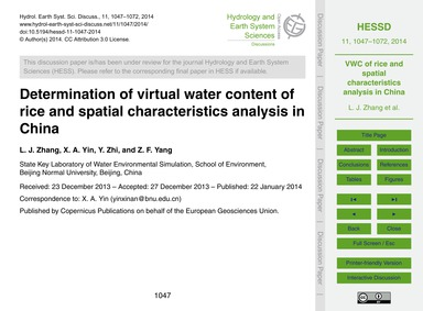 Determination of Virtual Water Content o... by Zhang, L. J.