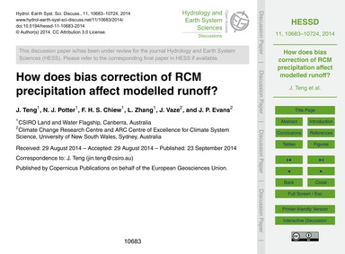 How Does Bias Correction of Rcm Precipit... by Teng, J.