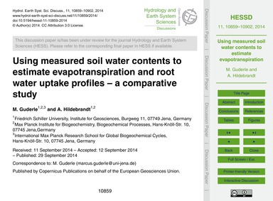 Using Measured Soil Water Contents to Es... by Guderle, M.