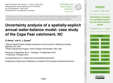 Uncertainty Analysis of a Spatially-expl... by Hamel, P.