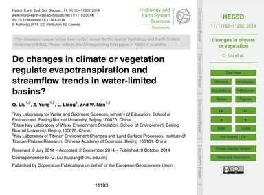 Do Changes in Climate or Vegetation Regu... by Liu, Q.