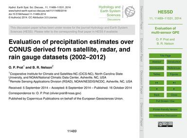 Evaluation of Precipitation Estimates Ov... by Prat, O. P.