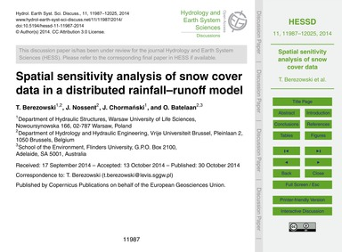 Spatial Sensitivity Analysis of Snow Cov... by Berezowski, T.