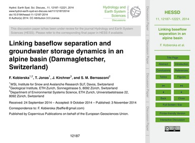 Linking Baseflow Separation and Groundwa... by Kobierska, F.
