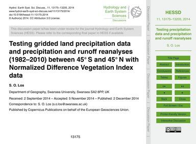 Testing Gridded Land Precipitation Data ... by Los, S. O.