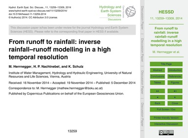 From Runoff to Rainfall: Inverse Rainfal... by Herrnegger, M.