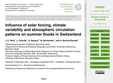 Influence of Solar Forcing, Climate Vari... by Peña, J. C.
