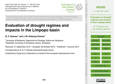 Evaluation of Drought Regimes and Impact... by Alemaw, B. F.