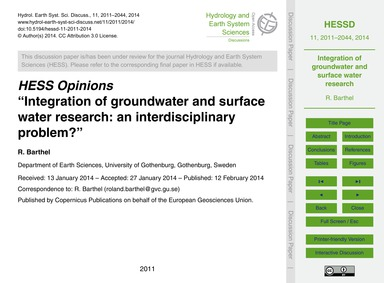 Hess Opinions Integration of Groundwater... by Barthel, R.