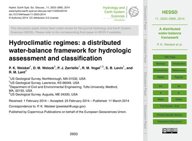 Hydroclimatic Regimes: a Distributed Wat... by Weiskel, P. K.