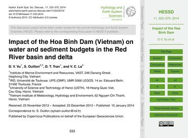 Impact of the Hoa Binh Dam (Vietnam) on ... by Vu, D. V.