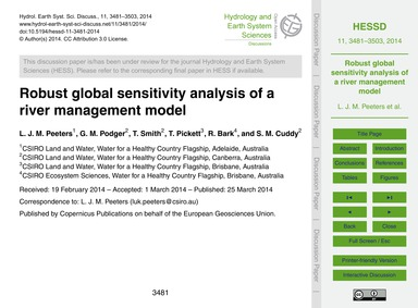 Robust Global Sensitivity Analysis of a ... by Peeters, L. J. M.