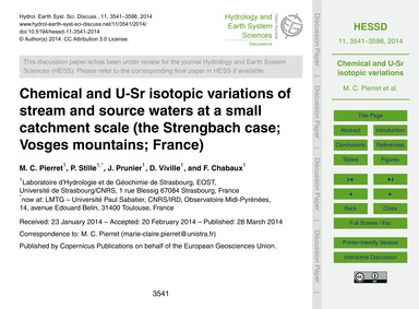 Chemical and U-sr Isotopic Variations of... by Pierret, M. C.