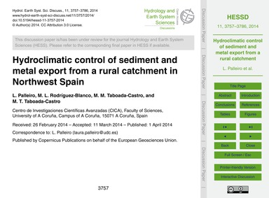 Hydroclimatic Control of Sediment and Me... by Palleiro, L.