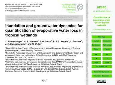 Inundation and Groundwater Dynamics for ... by Schwerdtfeger, J.
