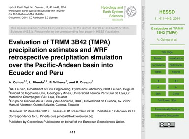 Evaluation of Trmm 3B42 (Tmpa) Precipita... by Ochoa, A.