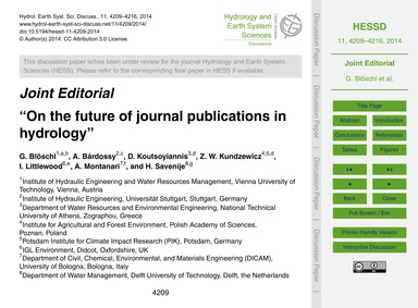 Joint Editorial on the Future of Journal... by Blöschl, G.