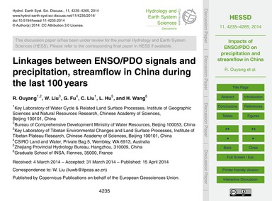 Linkages Between Enso/Pdo Signals and Pr... by Ouyang, R.