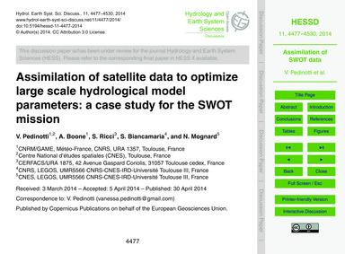 Assimilation of Satellite Data to Optimi... by Pedinotti, V.