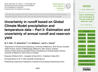 Uncertainty in Runoff Based on Global Cl... by Peel, M. C.