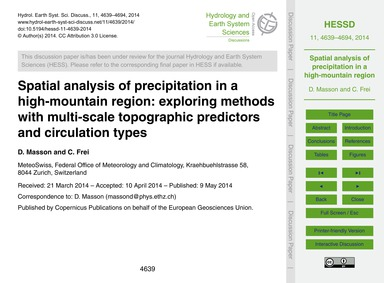 Spatial Analysis of Precipitation in a H... by Masson, D.