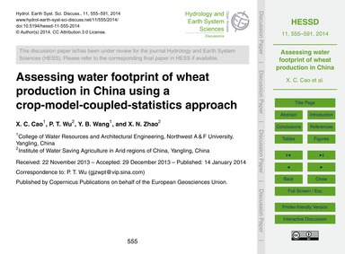 Assessing Water Footprint of Wheat Produ... by Cao, X. C.
