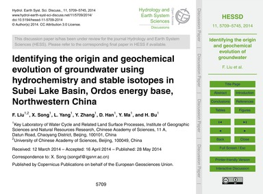 Identifying the Origin and Geochemical E... by Liu, F.
