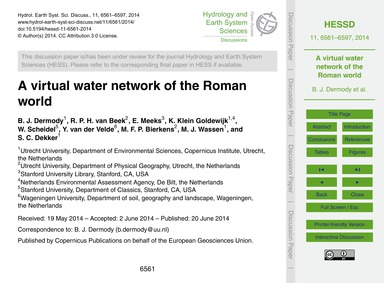 A Virtual Water Network of the Roman Wor... by Dermody, B. J.