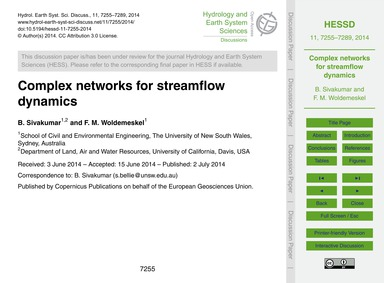 Complex Networks for Streamflow Dynamics... by Sivakumar, B.