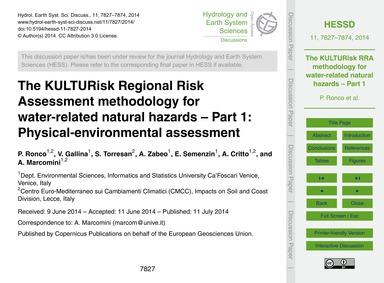 The Kulturisk Regional Risk Assessment M... by Ronco, P.