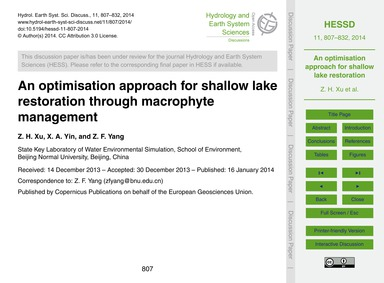 An Optimisation Approach for Shallow Lak... by Xu, Z. H.