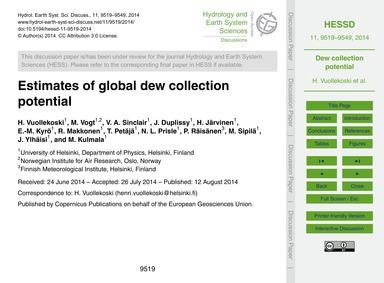 Estimates of Global Dew Collection Poten... by Vuollekoski, H.