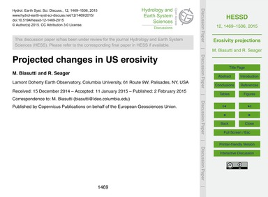 Projected Changes in US Erosivity : Volu... by Biasutti, M.
