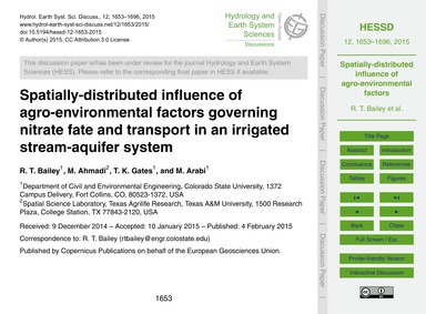 Spatially-distributed Influence of Agro-... by Bailey, R. T.