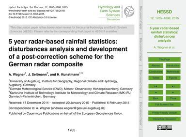 5 Year Radar-based Rainfall Statistics: ... by Wagner, A.