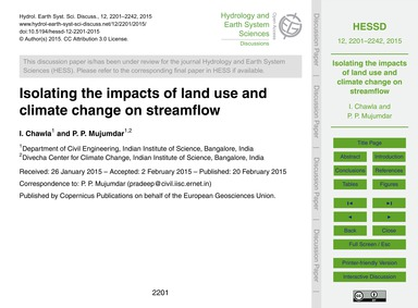 Isolating the Impacts of Land Use and Cl... by Chawla, I.
