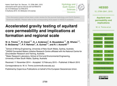 Accelerated Gravity Testing of Aquitard ... by Timms, W. A.