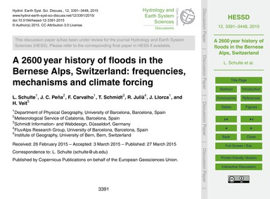 A 2600 Year History of Floods in the Ber... by Schulte, L.
