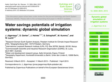 Water Savings Potentials of Irrigation S... by Jägermeyr, J.
